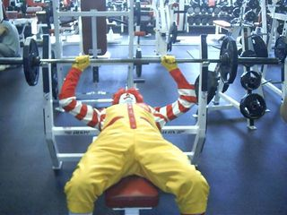 Ronald-McDonald-on-Flat-Bench-Press